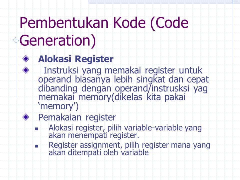 Pembentukan Kode (Code Generation)