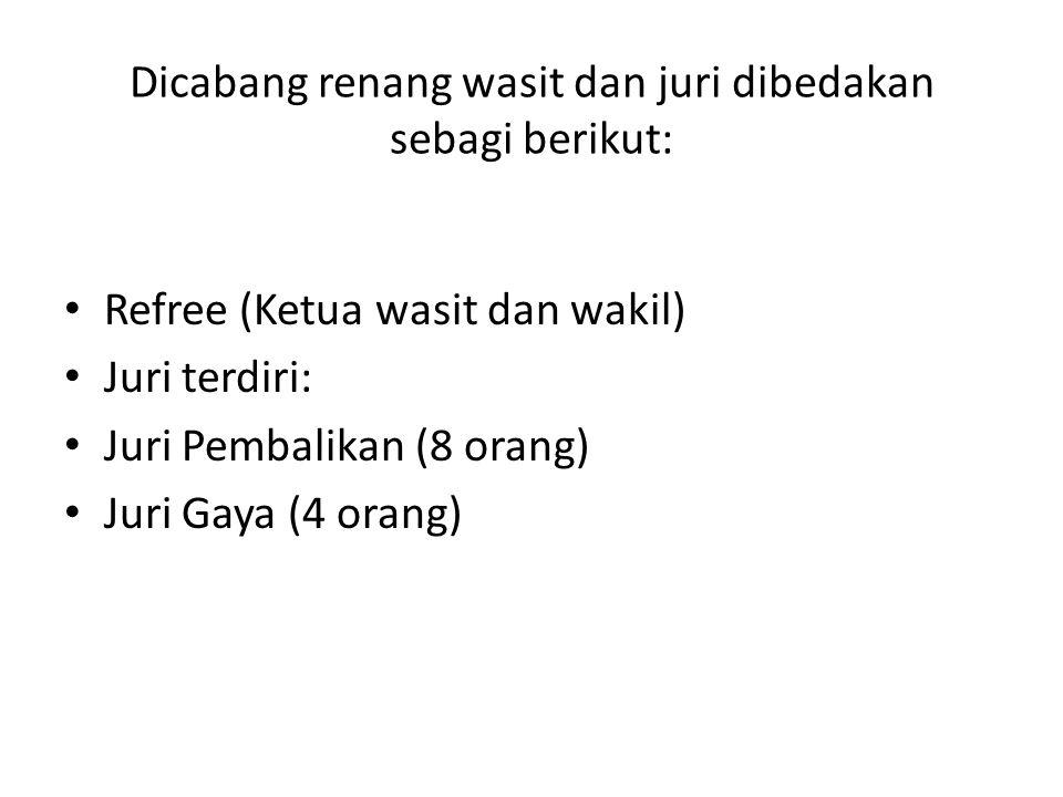 Dicabang renang wasit dan juri dibedakan sebagi berikut: