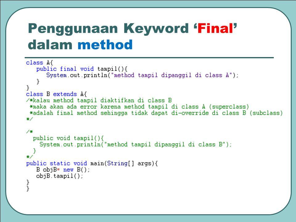Penggunaan Keyword 'Final' dalam method