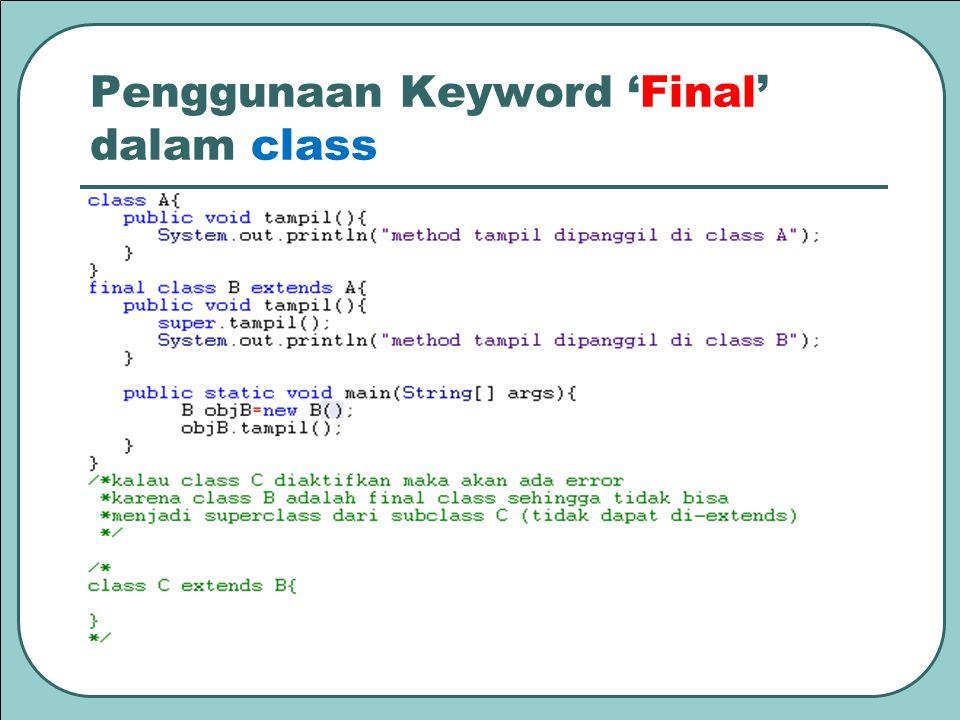 Penggunaan Keyword 'Final' dalam class
