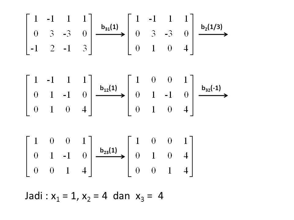 b31(1) b2(1/3) b12(1) b32(-1) b23(1) Jadi : x1 = 1, x2 = 4 dan x3 = 4