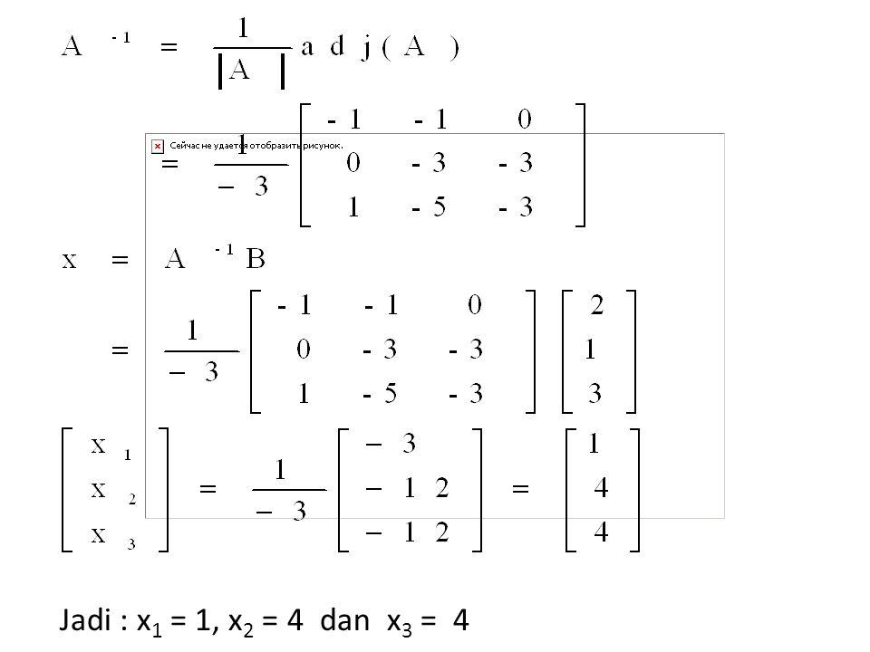 Jadi : x1 = 1, x2 = 4 dan x3 = 4