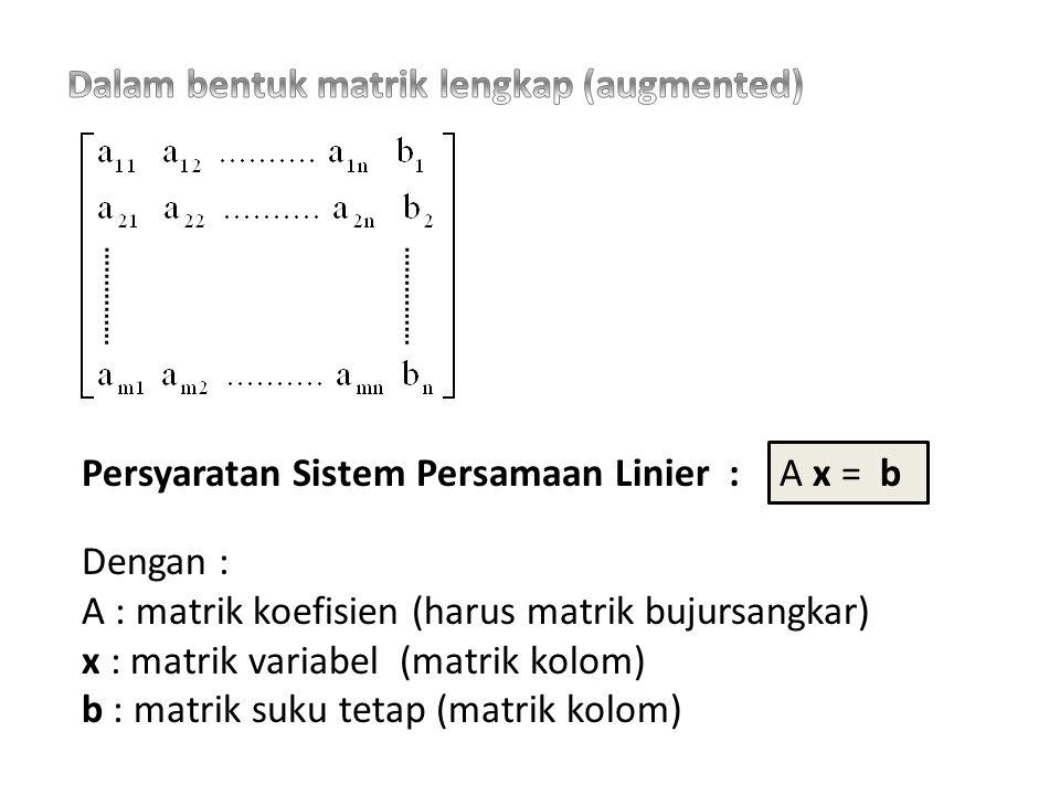 Dalam bentuk matrik lengkap (augmented)