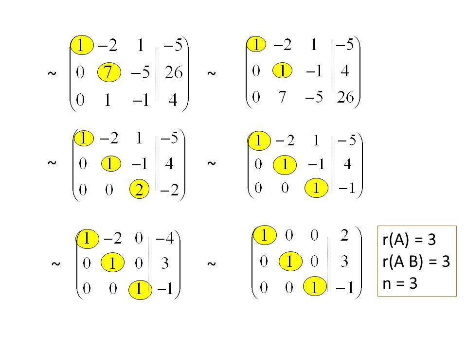 ~ ~ ~ ~ r(A) = 3 r(A B) = 3 n = 3 ~ ~