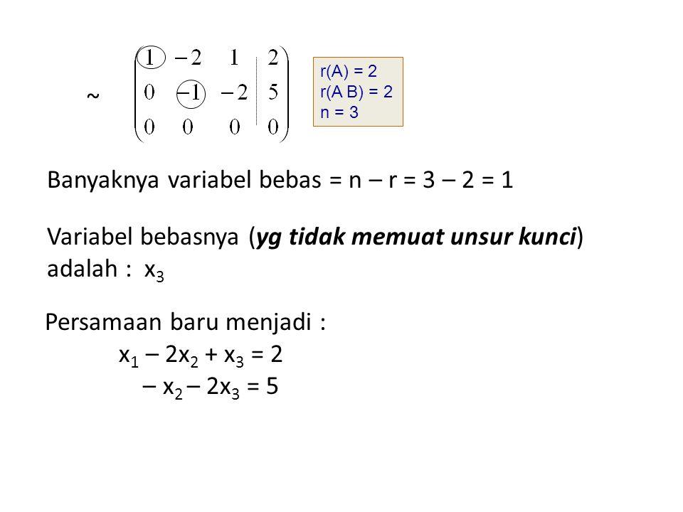 Banyaknya variabel bebas = n – r = 3 – 2 = 1
