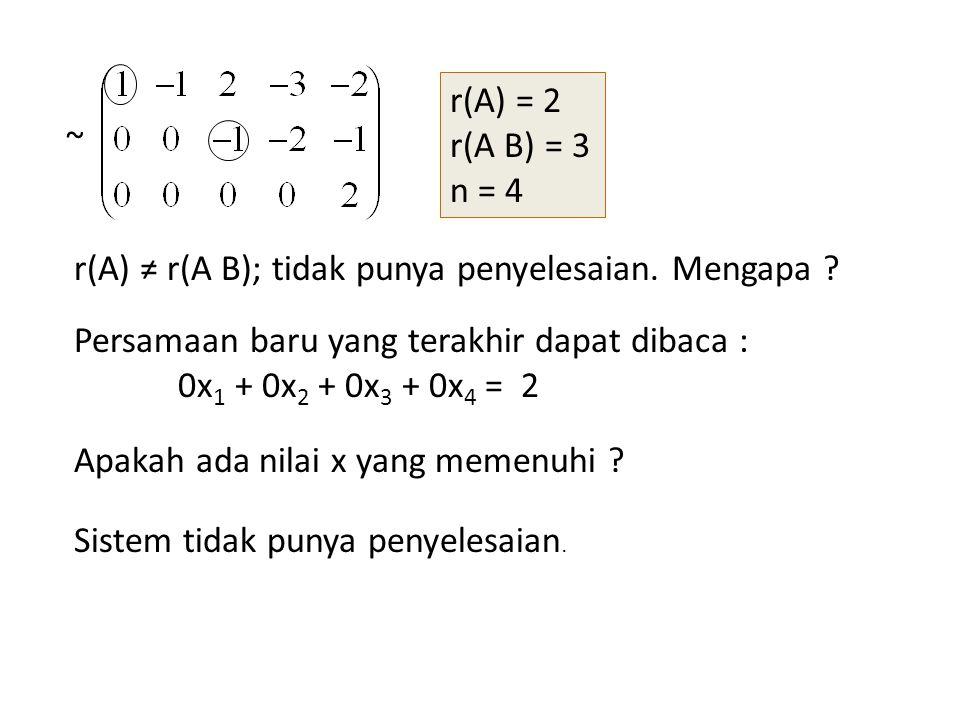 r(A) = 2 r(A B) = 3. n = 4. ~ r(A) ≠ r(A B); tidak punya penyelesaian. Mengapa Persamaan baru yang terakhir dapat dibaca :
