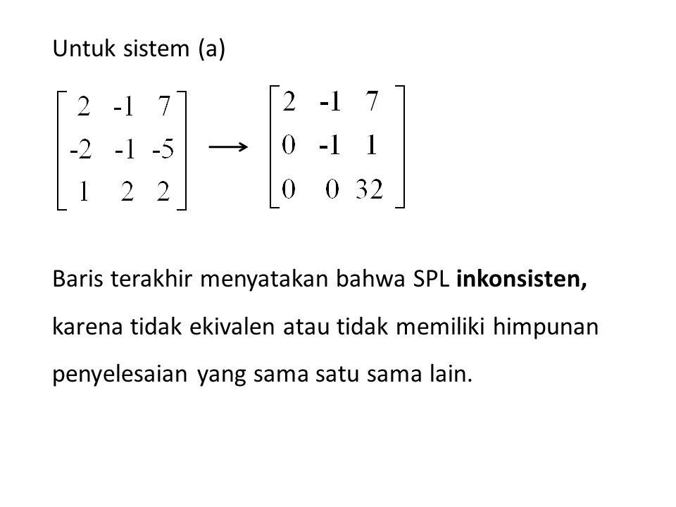 Untuk sistem (a)