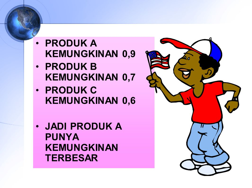 PRODUK A KEMUNGKINAN 0,9 PRODUK B KEMUNGKINAN 0,7.