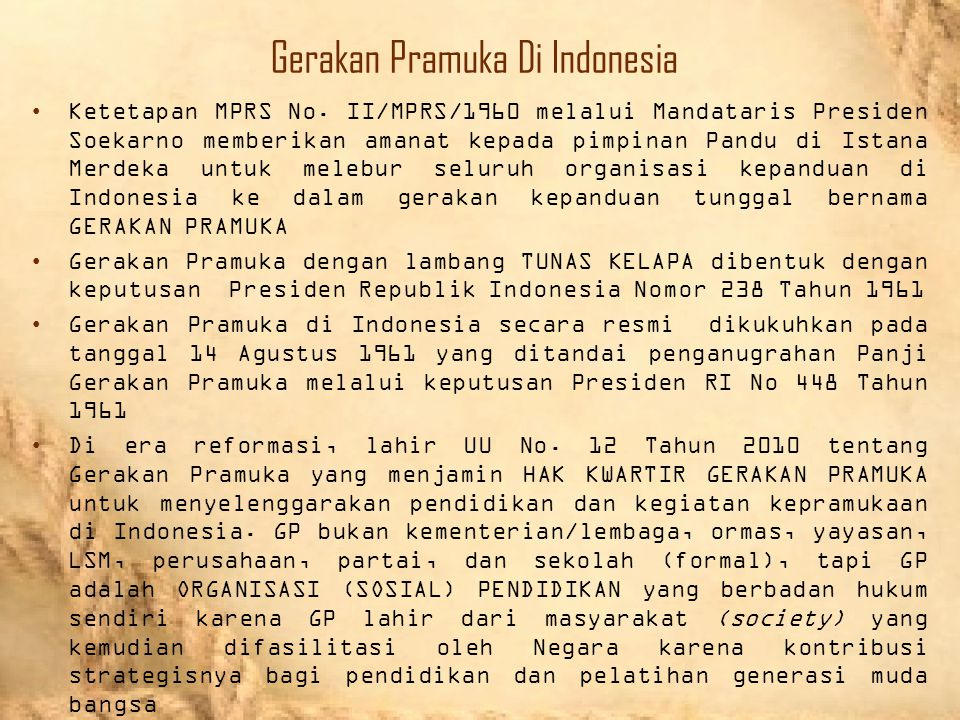Gerakan Pramuka Di Indonesia