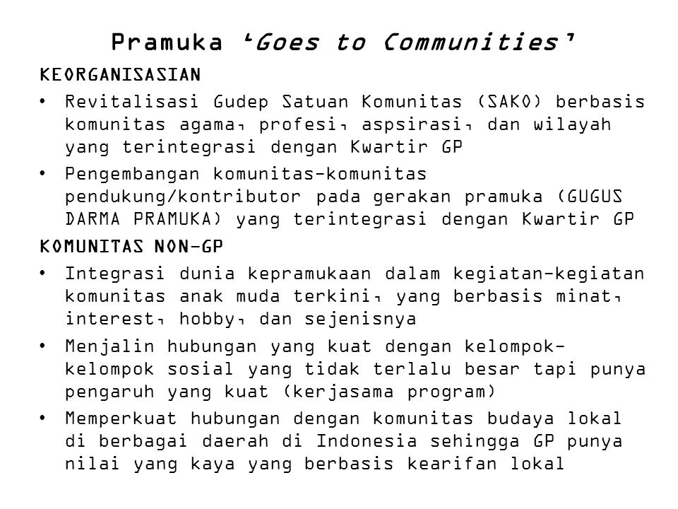 Pramuka 'Goes to Communities'