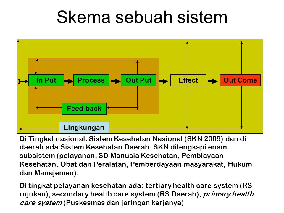 Skema sebuah sistem In Put Process Out Put Effect Out Come Feed back