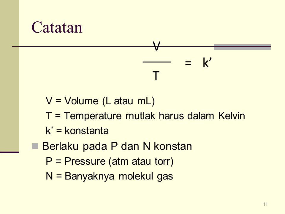 Catatan k' = V T Berlaku pada P dan N konstan V = Volume (L atau mL)