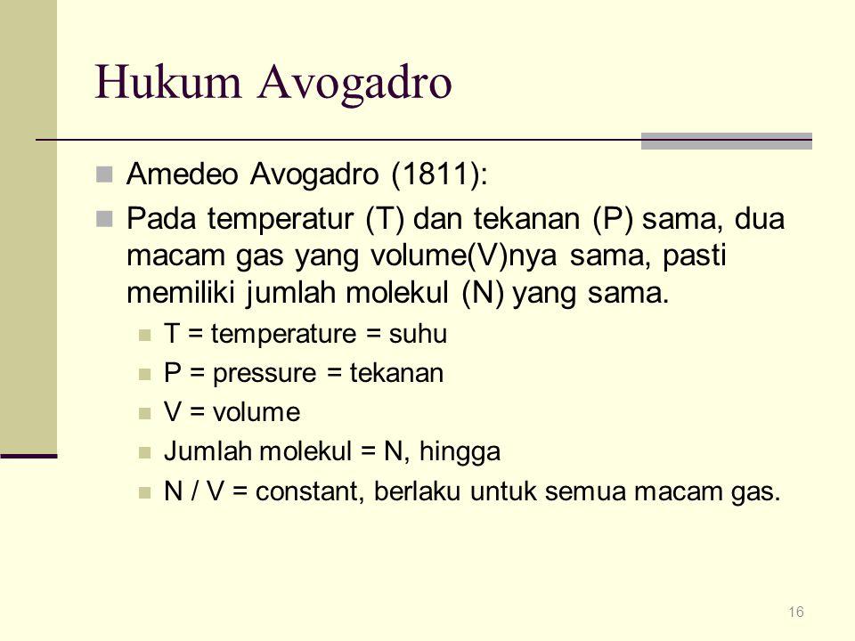Hukum Avogadro Amedeo Avogadro (1811):