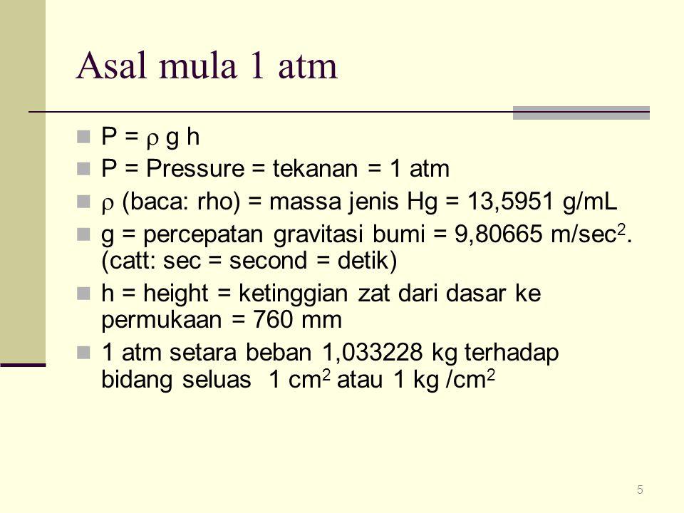 Asal mula 1 atm P =  g h P = Pressure = tekanan = 1 atm