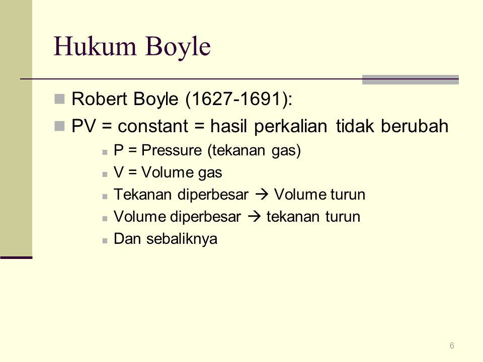 Hukum Boyle Robert Boyle (1627-1691):