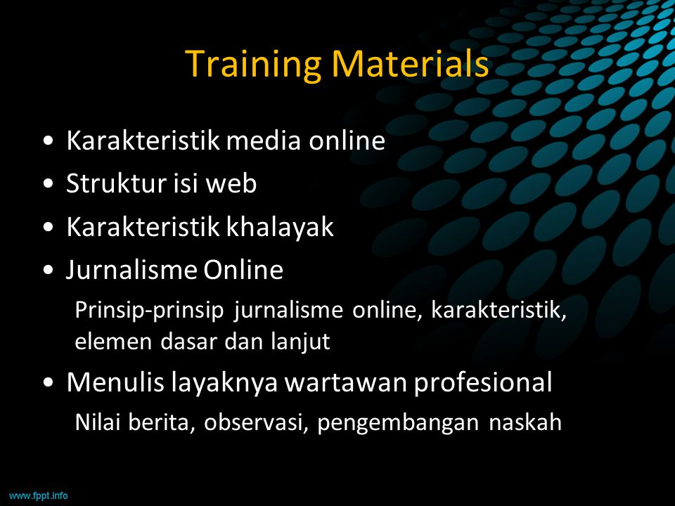 Training Materials Karakteristik media online Struktur isi web