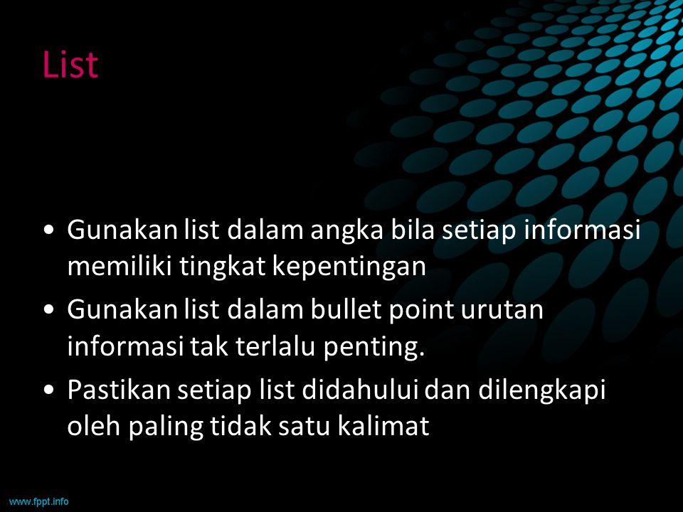 List Gunakan list dalam angka bila setiap informasi memiliki tingkat kepentingan.