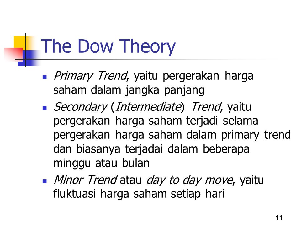 The Dow Theory Primary Trend, yaitu pergerakan harga saham dalam jangka panjang.