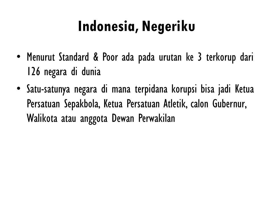 Indonesia, Negeriku Menurut Standard & Poor ada pada urutan ke 3 terkorup dari 126 negara di dunia.