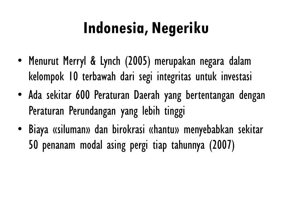 Indonesia, Negeriku Menurut Merryl & Lynch (2005) merupakan negara dalam kelompok 10 terbawah dari segi integritas untuk investasi.
