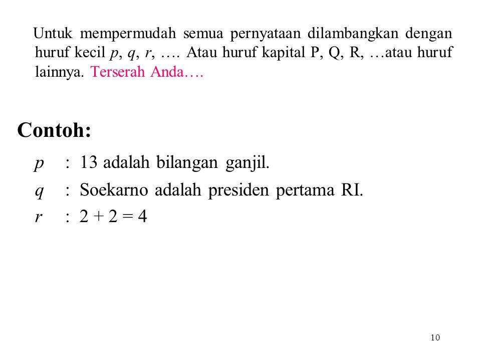 p : 13 adalah bilangan ganjil.