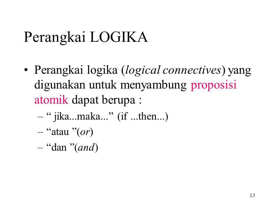 Perangkai LOGIKA Perangkai logika (logical connectives) yang digunakan untuk menyambung proposisi atomik dapat berupa :