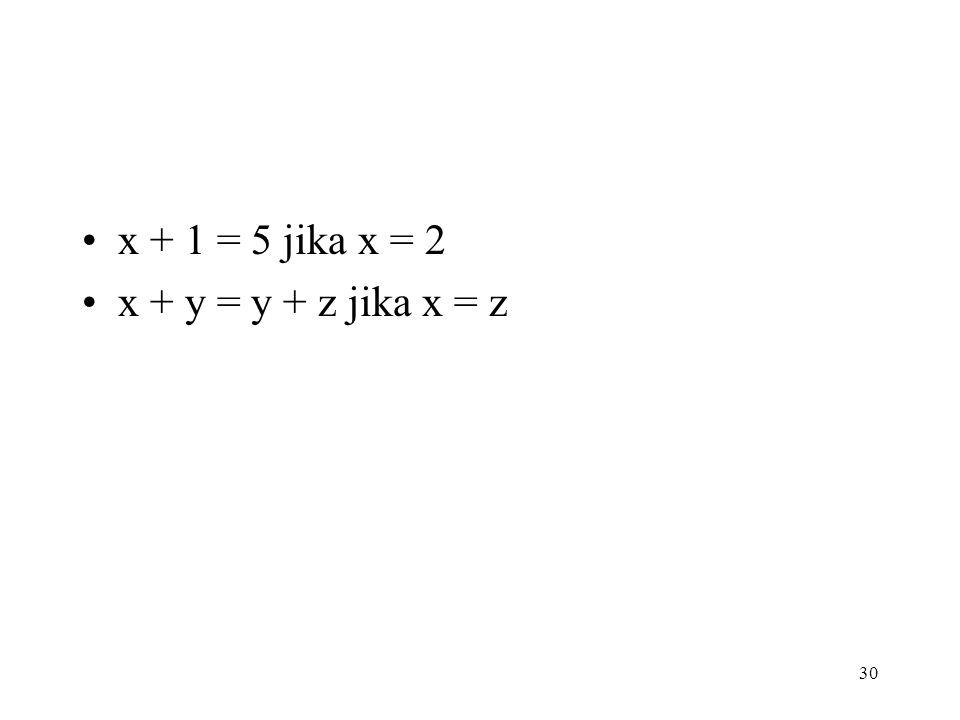 x + 1 = 5 jika x = 2 x + y = y + z jika x = z