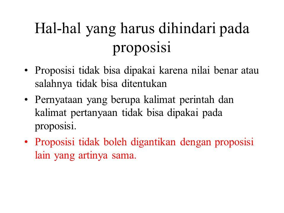 Hal-hal yang harus dihindari pada proposisi