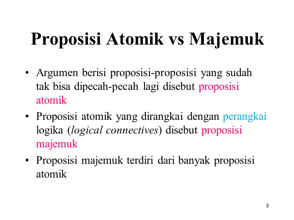 Proposisi Atomik vs Majemuk
