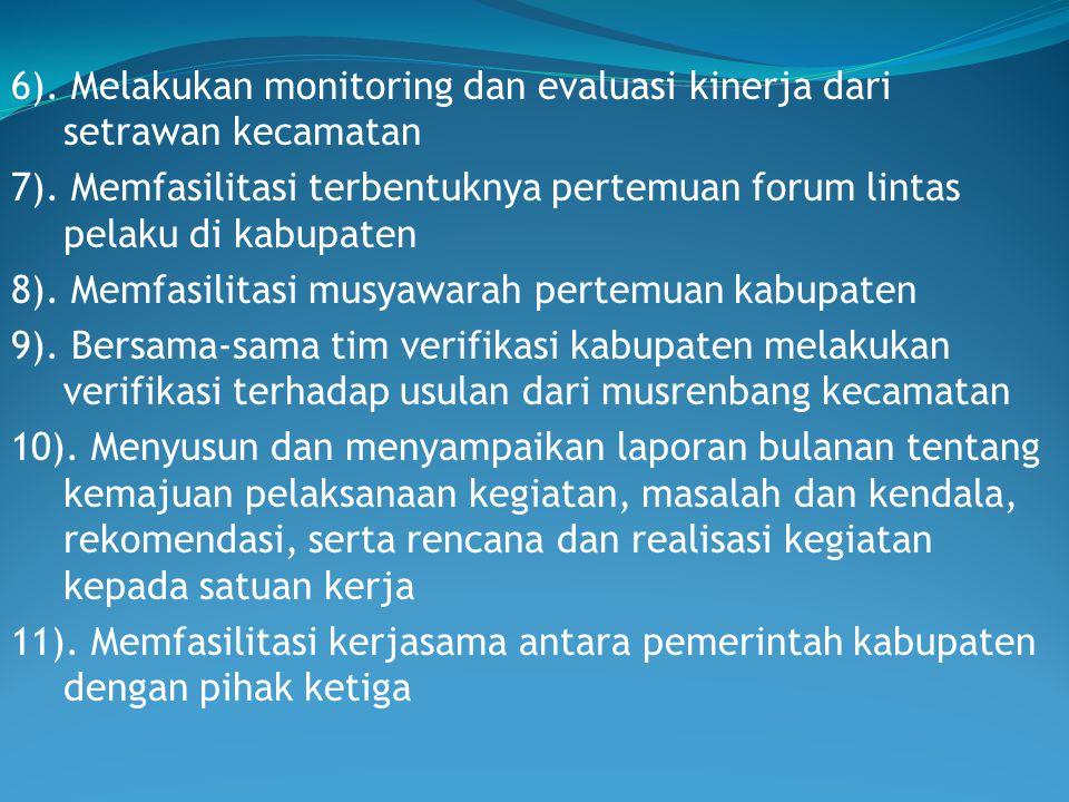 6). Melakukan monitoring dan evaluasi kinerja dari setrawan kecamatan 7).