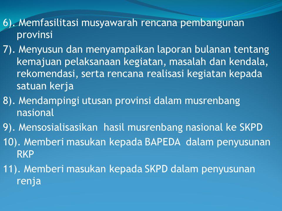 6). Memfasilitasi musyawarah rencana pembangunan provinsi 7)