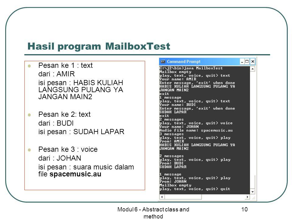 Hasil program MailboxTest
