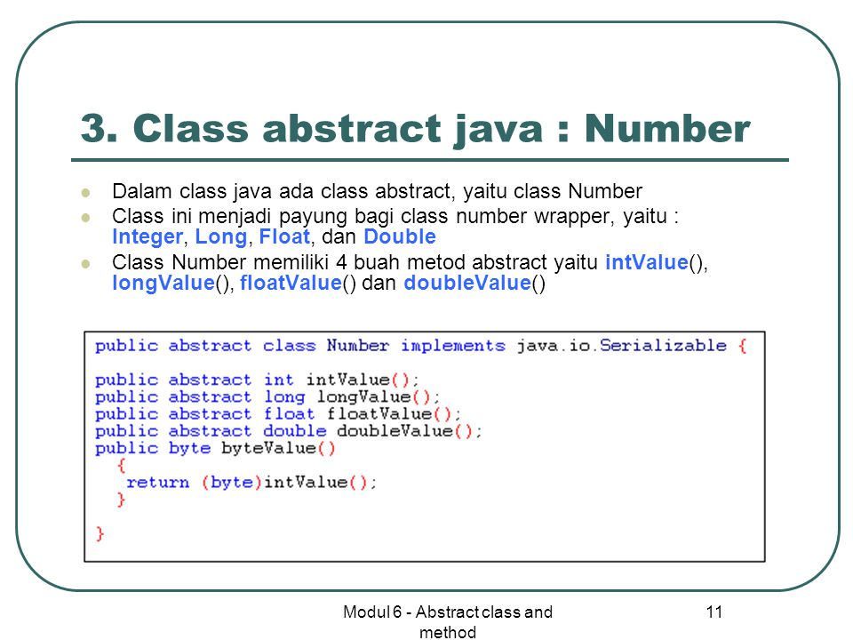 3. Class abstract java : Number