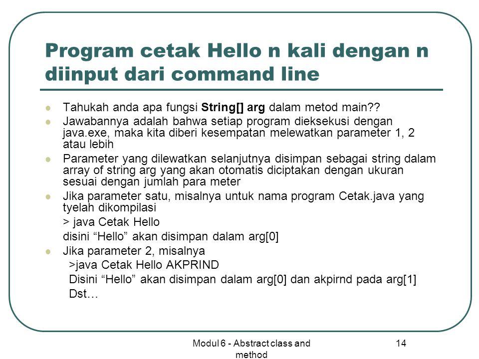Program cetak Hello n kali dengan n diinput dari command line