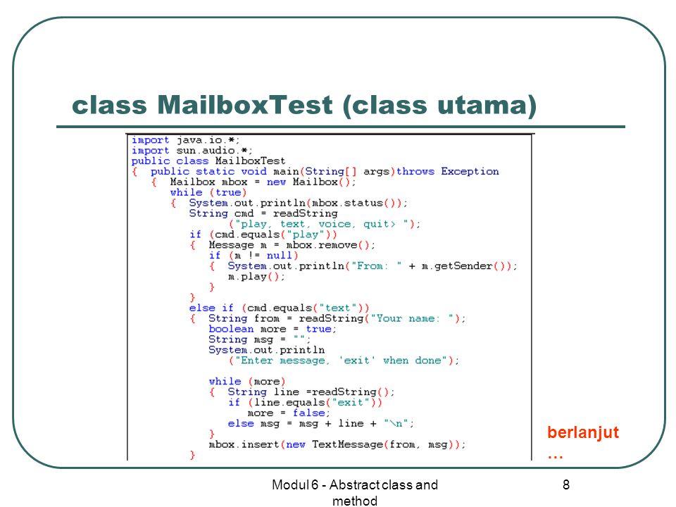 class MailboxTest (class utama)