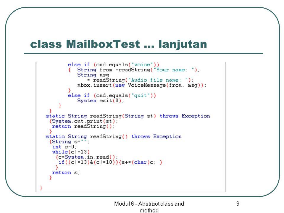 class MailboxTest … lanjutan
