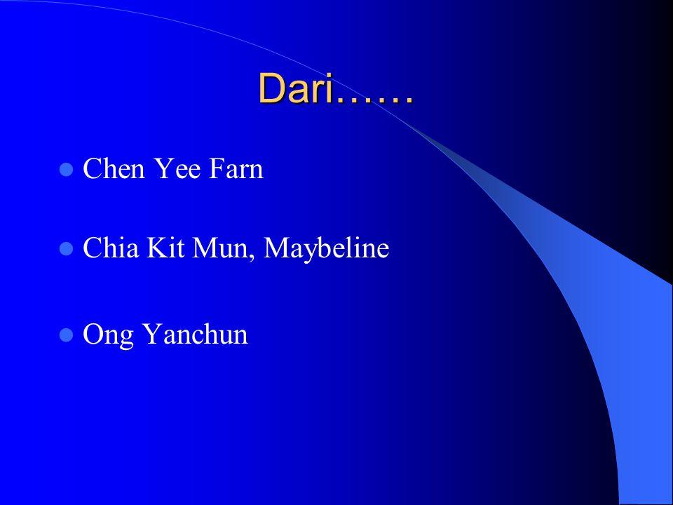 Dari…… Chen Yee Farn Chia Kit Mun, Maybeline Ong Yanchun