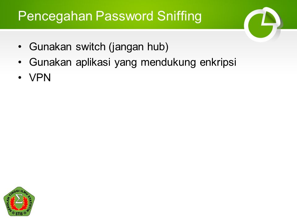 Pencegahan Password Sniffing