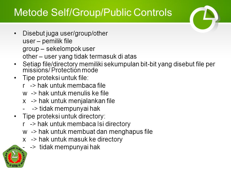 Metode Self/Group/Public Controls