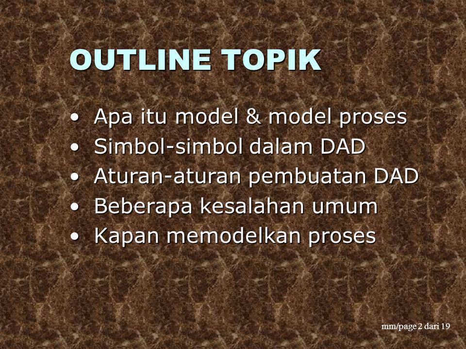 OUTLINE TOPIK Apa itu model & model proses Simbol-simbol dalam DAD