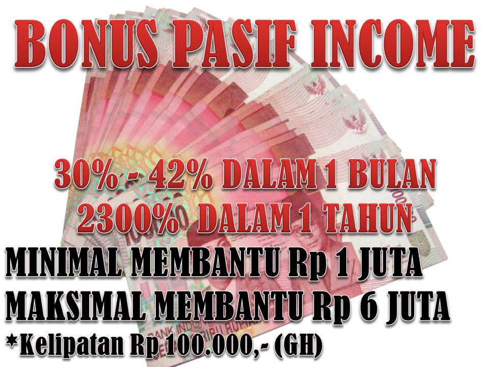 BONUS PASIF INCOME 30% - 42% DALAM 1 BULAN 2300% DALAM 1 TAHUN
