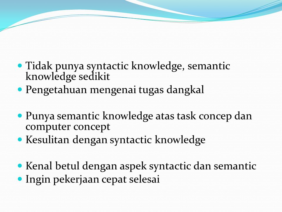 Tidak punya syntactic knowledge, semantic knowledge sedikit
