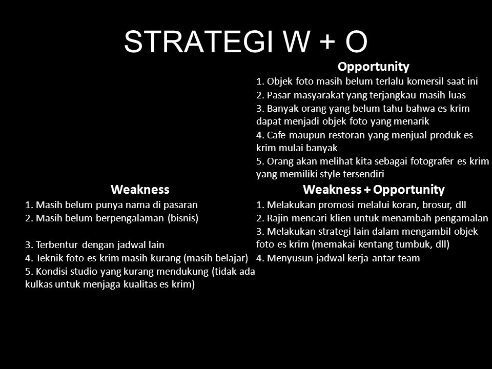 Weakness + Opportunity