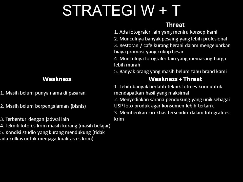 STRATEGI W + T Threat Weakness Weakness + Threat