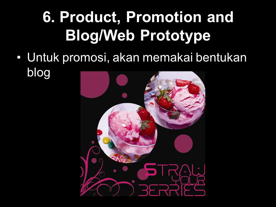 6. Product, Promotion and Blog/Web Prototype
