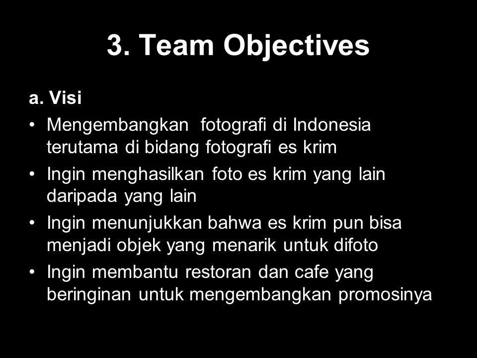 3. Team Objectives a. Visi. Mengembangkan fotografi di Indonesia terutama di bidang fotografi es krim.