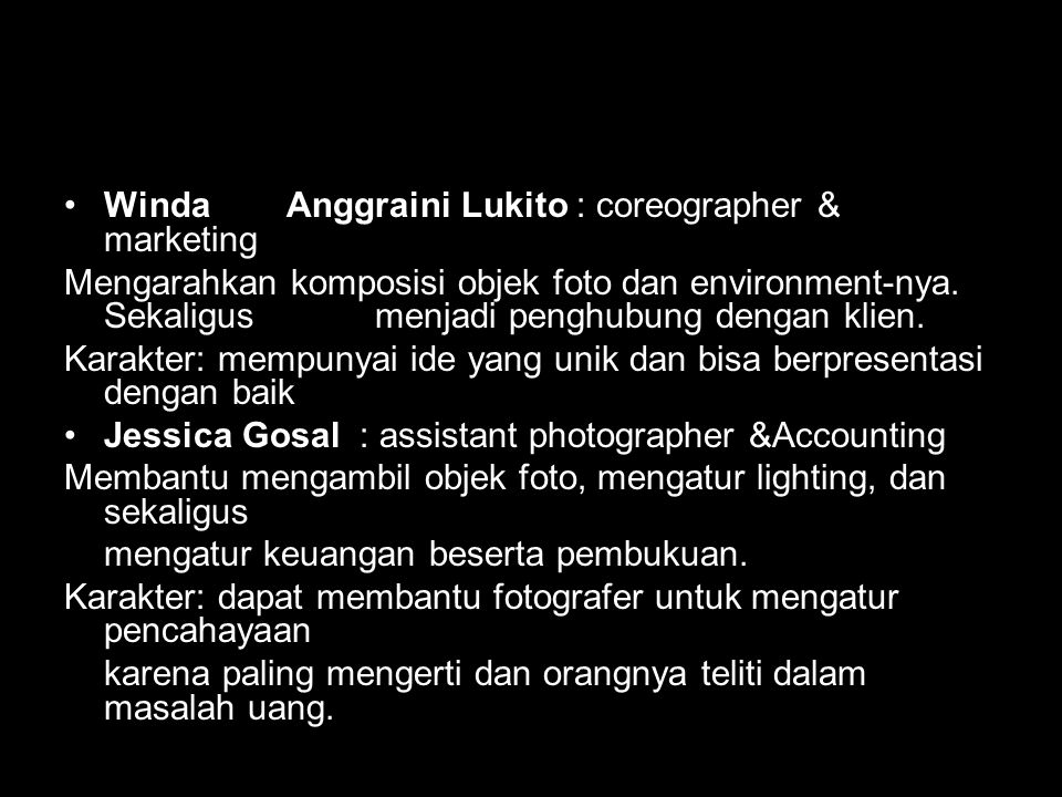 Winda Anggraini Lukito : coreographer & marketing