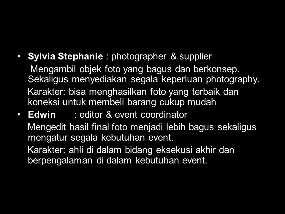 Sylvia Stephanie : photographer & supplier