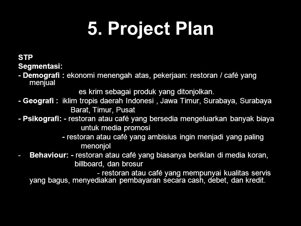 5. Project Plan STP Segmentasi: