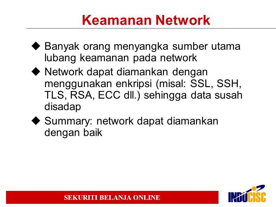 Keamanan Network Banyak orang menyangka sumber utama lubang keamanan pada network.
